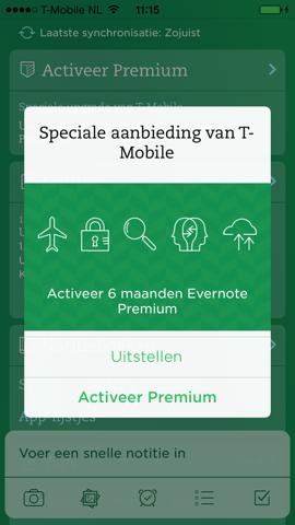 T-Mobile Evernote Premium 6 maanden gratis
