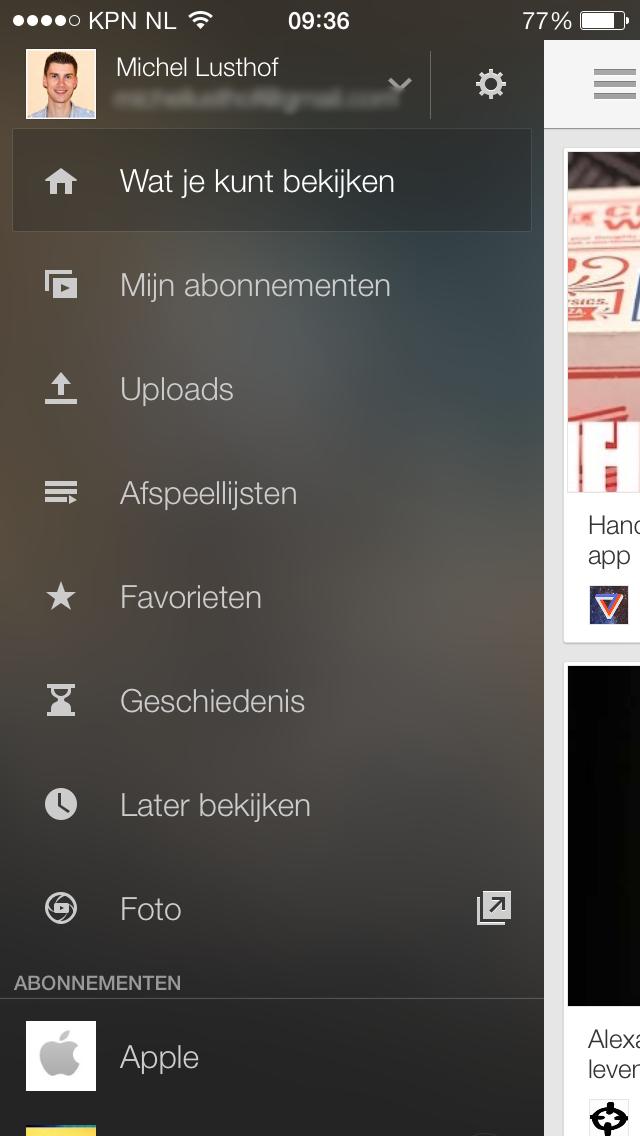 YouTube transparant menu
