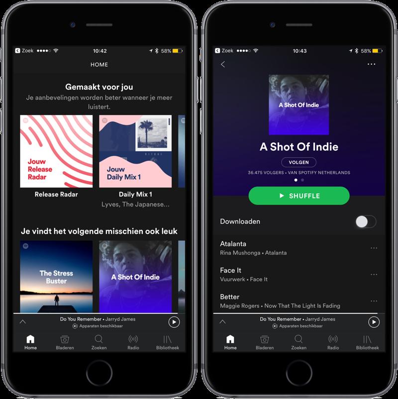 Spotify offline afspeellijst kiezen