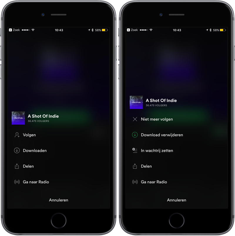 Spotify offline afspeellijst