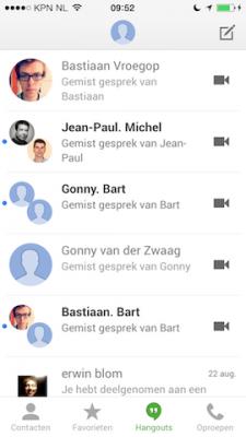 Google Hangouts chat overzicht