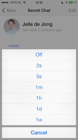 Telegram self-destruct berichten