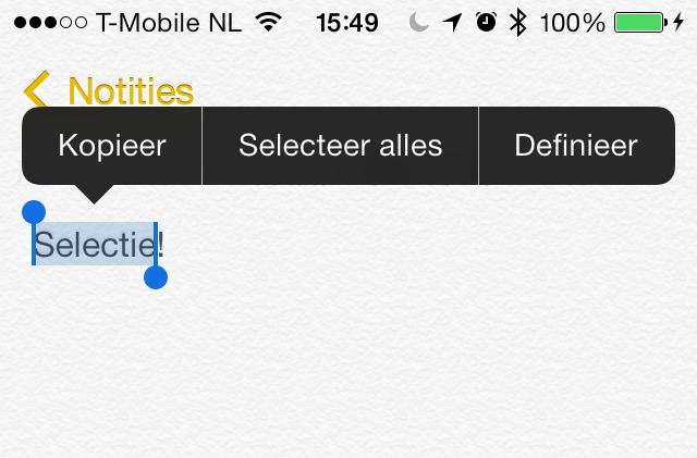 iOS 7 selectie