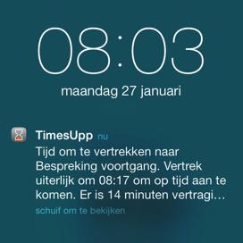 TimesUpp pushbericht verkeer iOS