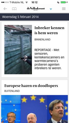 De Volkskrant Select hoofdpagina