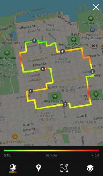 Runtastic route op kaart