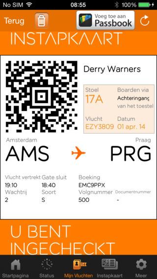 easyJet mobile toevoegen aan passbook