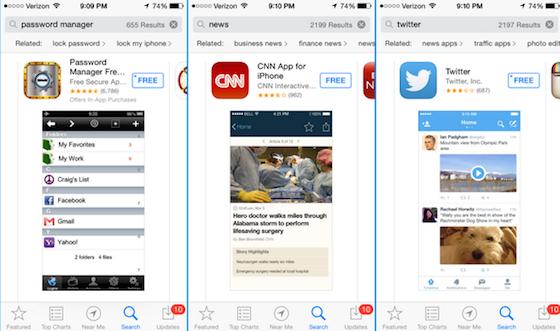 App Store gerelateerde zoektermen iOS