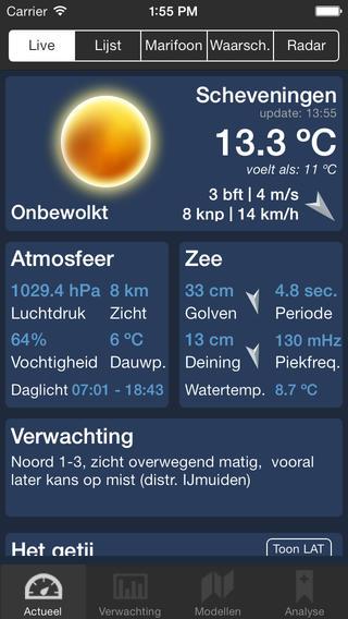 Zeeweer iPhone weersbericht