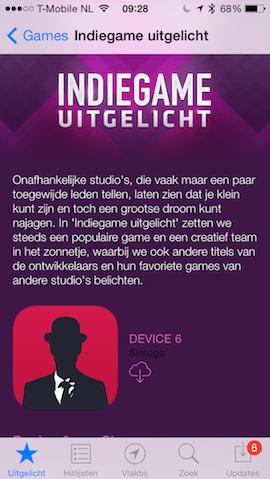 Indiegame uitgelicht App Store iOS