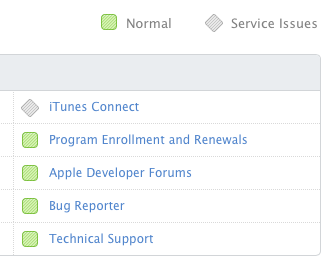 systeemstatus itunes connect
