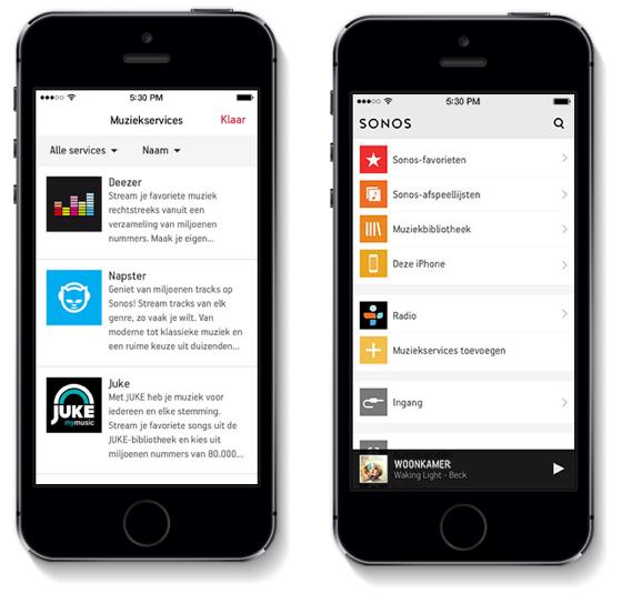 Sonos iOS 7 app twee iPhones