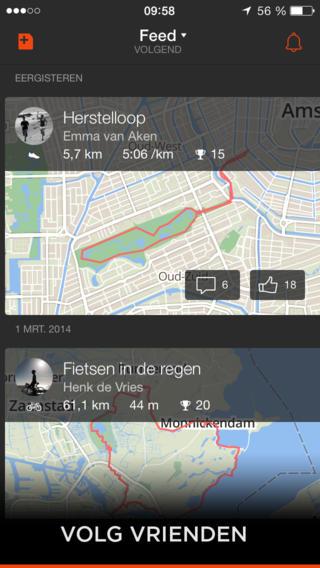 Strava GPS activiteitenfeed