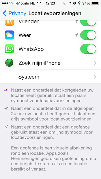 Locatievoorzieningen iOS 7.1 pijltjes
