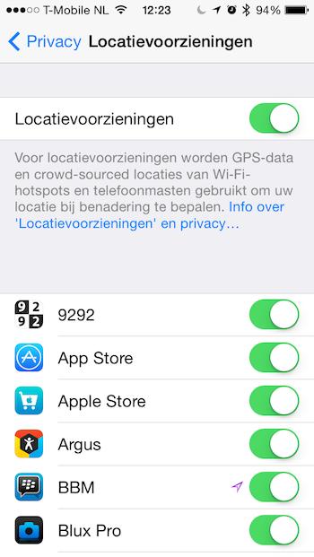 Locatievoorzieningen iOS 7.1 opties
