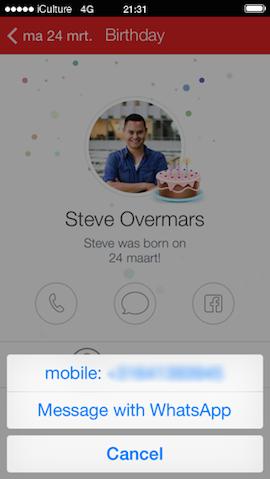 WhatsApp-ondersteuning Fantastical