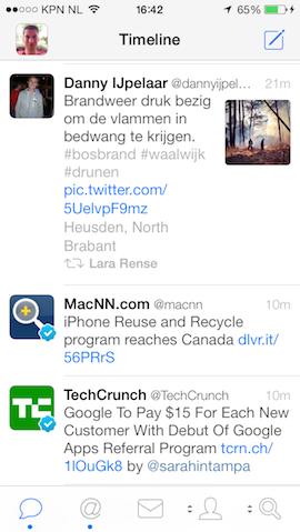 Tweetbot met kleine afbeeldingen