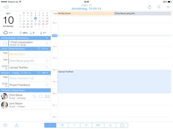 miCal iPad dagweergave