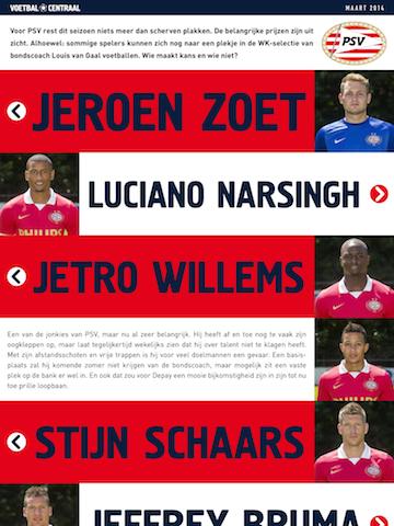 Voetbal Centraal PSV spelers