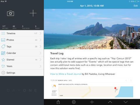 Dagboek-app Day One voor iPad laat nu foto's en teksten publiceren