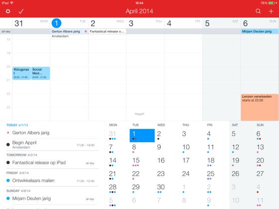 Fantastical 2 iPad liggende stand iOS