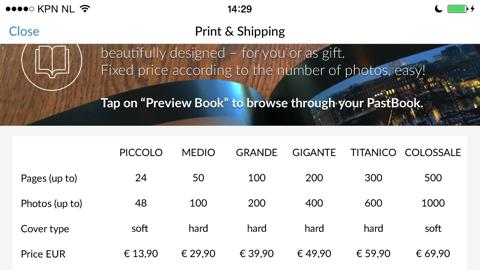 PastBook prijzen overzicht iPhone