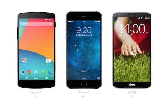 iPhone 6 Nexus 5 LG G2
