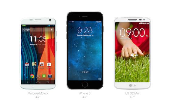 iPhone 6 Moto X LG G2