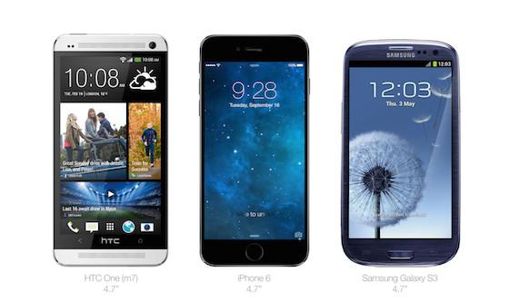 iPhone 6 HTC One Galaxy S3