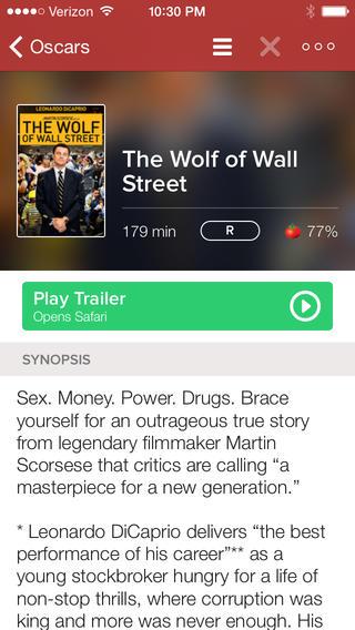Moviedo filmpagina iPhone