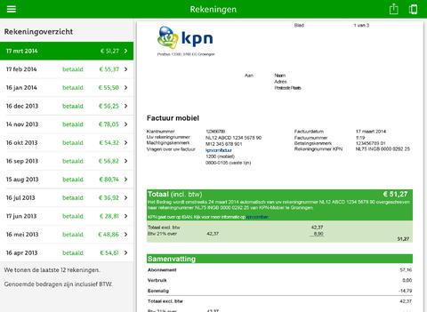 ICV MijnKPN Facturen in app iOS