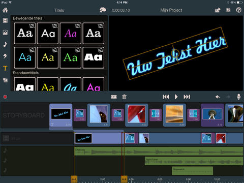 Pinnacle Studio tekst iPad