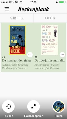 Storytel iPhone boekenkast