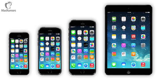 iPhone 6 volgens MacRumors naast andere iDevices