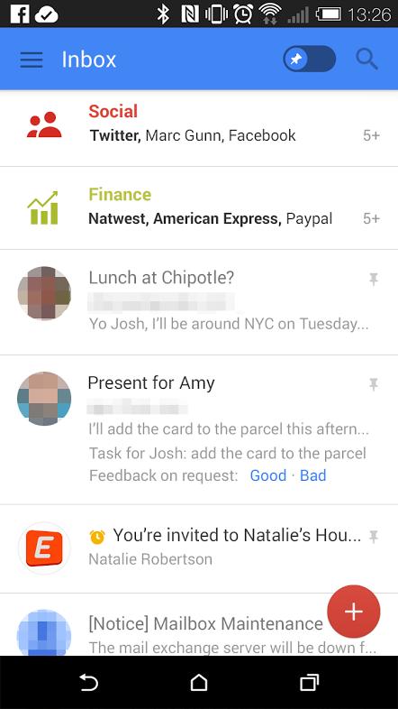 Gmail app pinfunctie screenshot