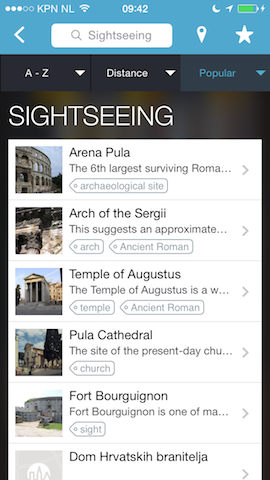 Triposo sightseeing iPhone