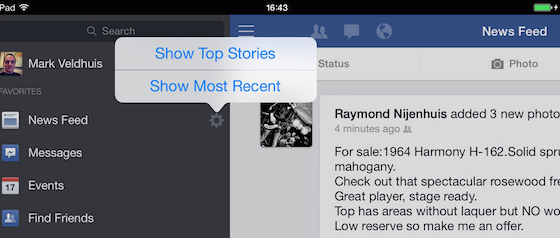 Meest recent in Facebook op iPad