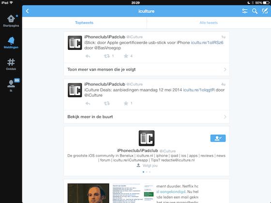 Twitter nieuwe search iPad
