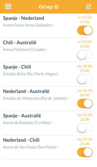 WK Apps agenda data speelschema iPhone