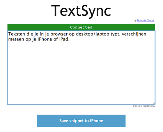 TextSync in de browser