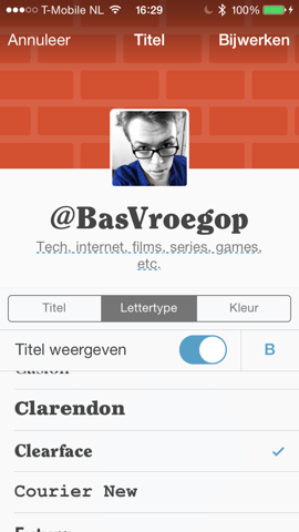 Tumblr profielpagina Bas aanpassen