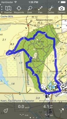 Topo GPS afbakening kaart iPhone