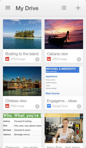Google Drive hoofdmenu iOS
