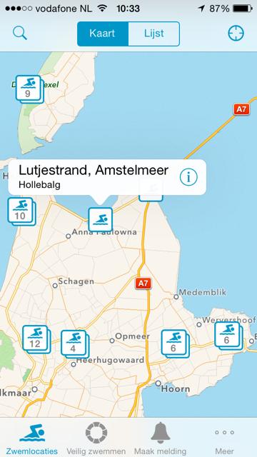landkaart zwemwater
