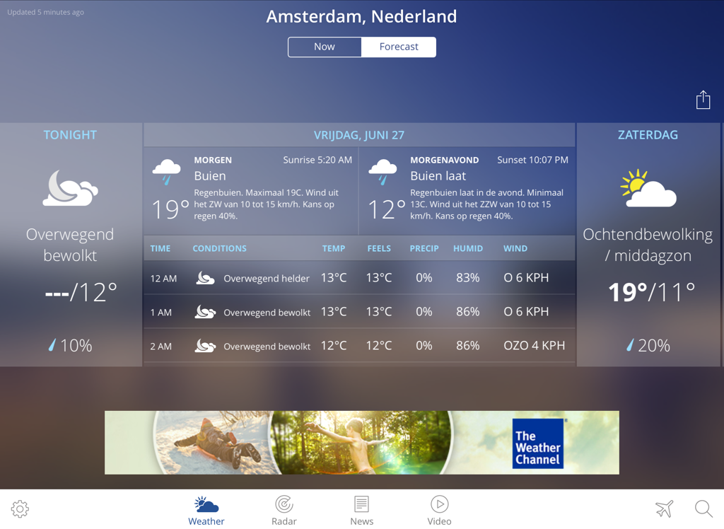 The Weather Channel iPad - voorspelling