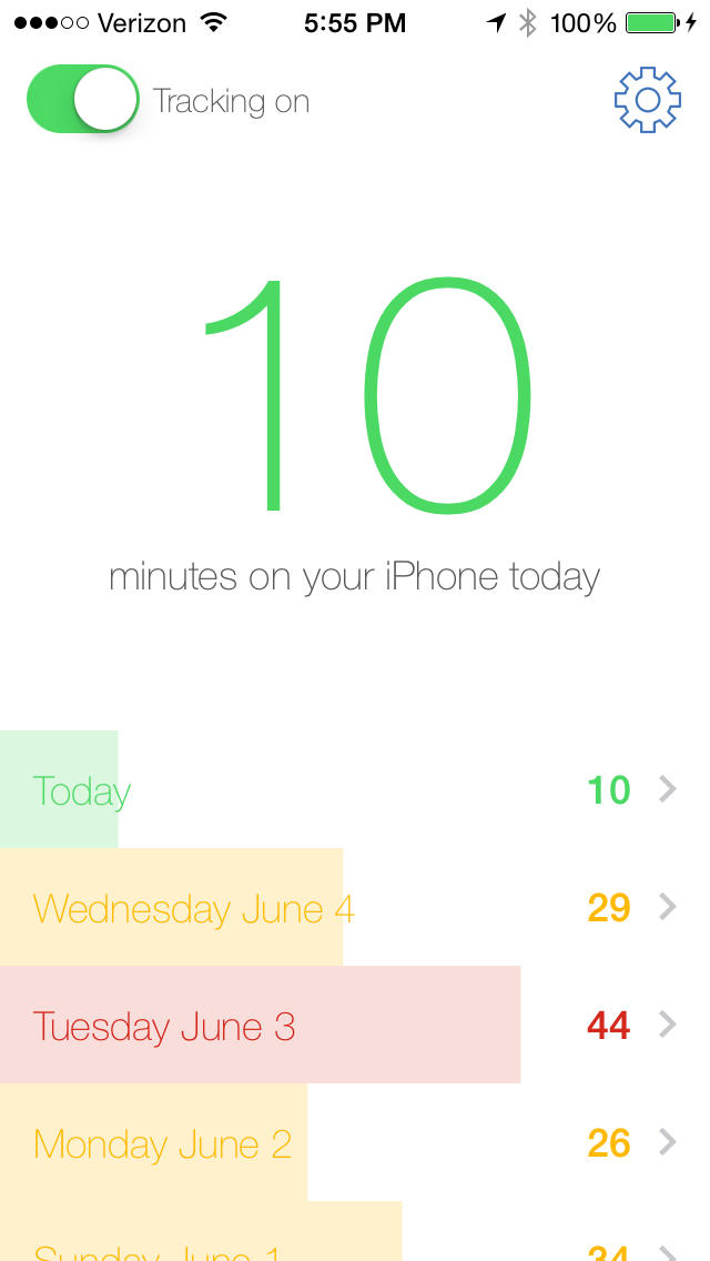 Moment tracker screenshot