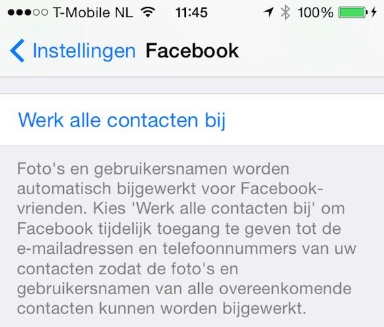 Facebook contacten synchroniseren