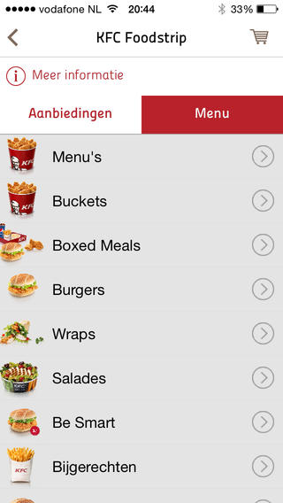 KFC bestellen iPhone menu