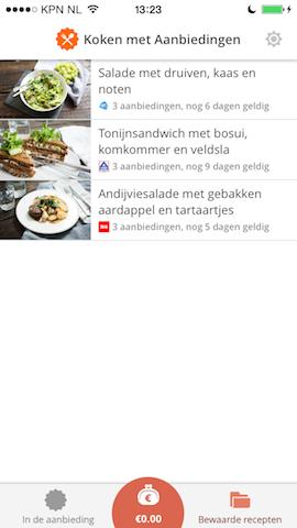 Koken met Aanbiedingen bewaarde recepten