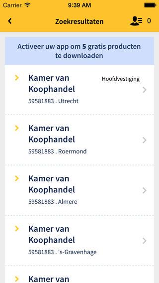 KvK App zoekresultaten